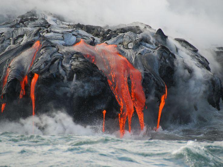 Lava flow into ocean.