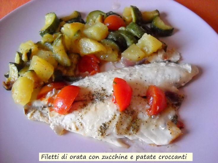 Filetti+di+orata+con+zucchine+e+patate+croccanti