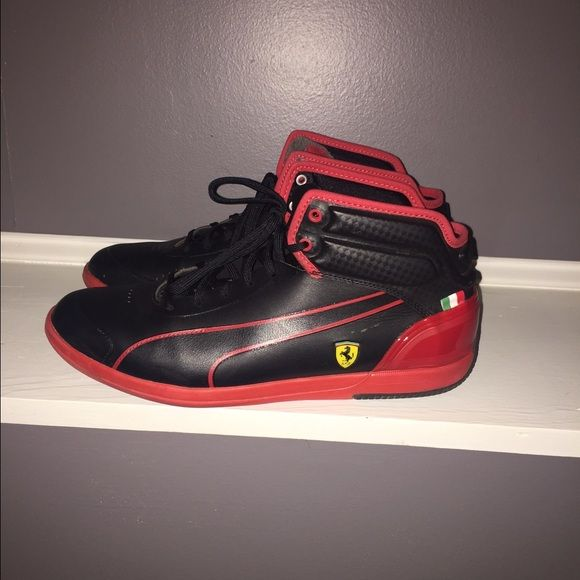 MENS Puma Sneakers MENS Red and black high top Puma Sneakers. Only wore twice. Great condition. Like new. All offers considered. Puma Shoes Sneakers