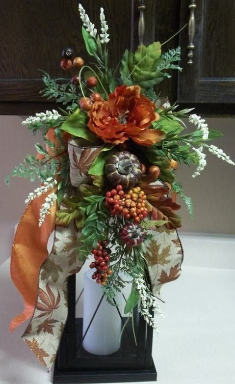 """""""FALL FESTIVAL"""" -  Decorative Fall Thanksgiving Lantern Swag by DecorClassicFlorals on Etsy, $34.95"""