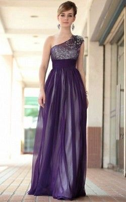 vestidos de noche morados largos elegante+