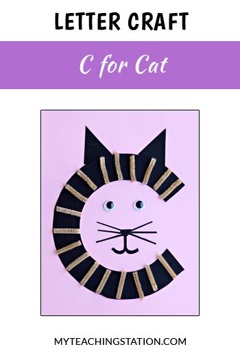 Letter of the week craft activity: Letter C is for Cat. Simple and easy letter craft for children in #preschool or #kindergarten.