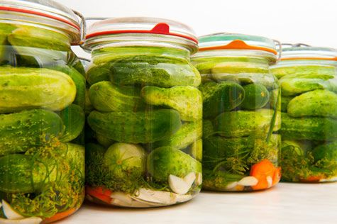 Classic Chilly Dillies  Yield: 1 quart Ingredients: 5 medium cucumbers 1 Tablespoon pickling salt, sea salt, or kosher salt (but not iodized table salt) 1 cup cider vinegar 1 cup water 1 head dill or small bunch dill leaves 1 clove garlic (optional) 3 black peppercorns (optional)