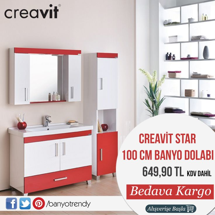 Creavit Star 100 cm Banyo Dolabı 649,90 TL Kdv Dahil! Üstelik ''Kargo Bedava'' #banyotrendy #banyodekorasyon #banyodolabı #creavit #star http://www.banyotrendy.com/creavit-star-100-cm-banyo-dolabi-pmu14765