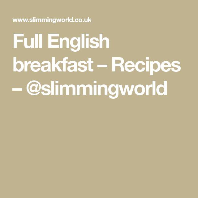 Full English breakfast – Recipes – @slimmingworld