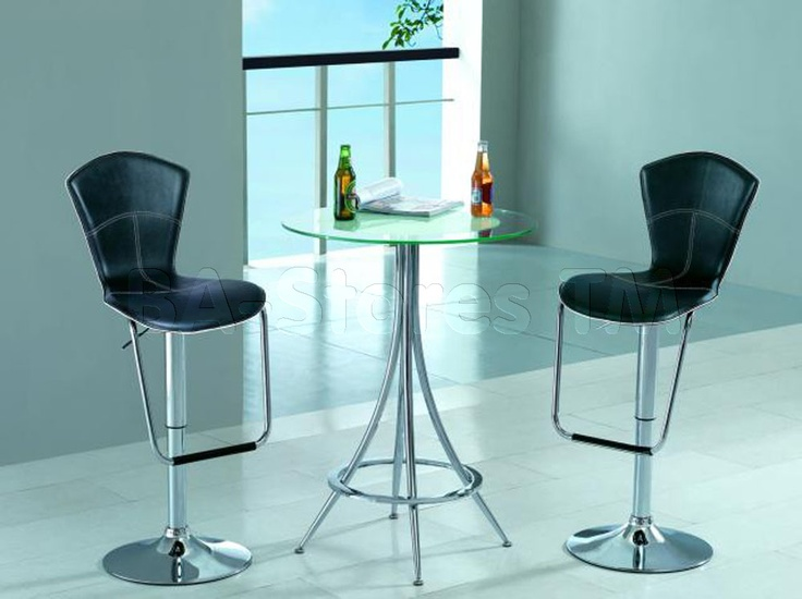 Modern Bar Set Gl Table And Two Stools American Eagle Furniture