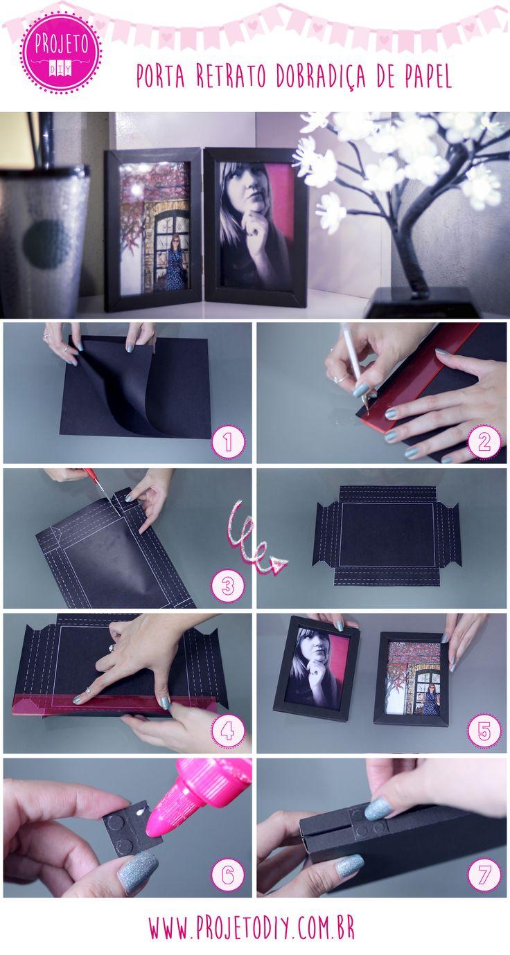 Como fazer porta retrato de dobradiça usando papel cartão