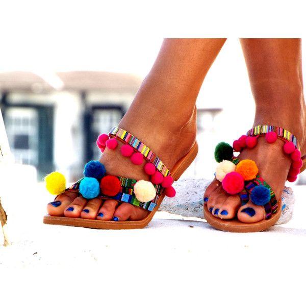 "Pom Pom sandals, Colorful leather Sandals, boho Sandals, ""Goa"" Greek... (€95) via Polyvore featuring shoes, sandals, colorful sandals, multi colored gladiator sandals, greek sandals, multi colored sandals and summer shoes"