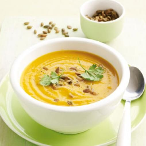 Spiced pumpkin soup with roasted pepitas