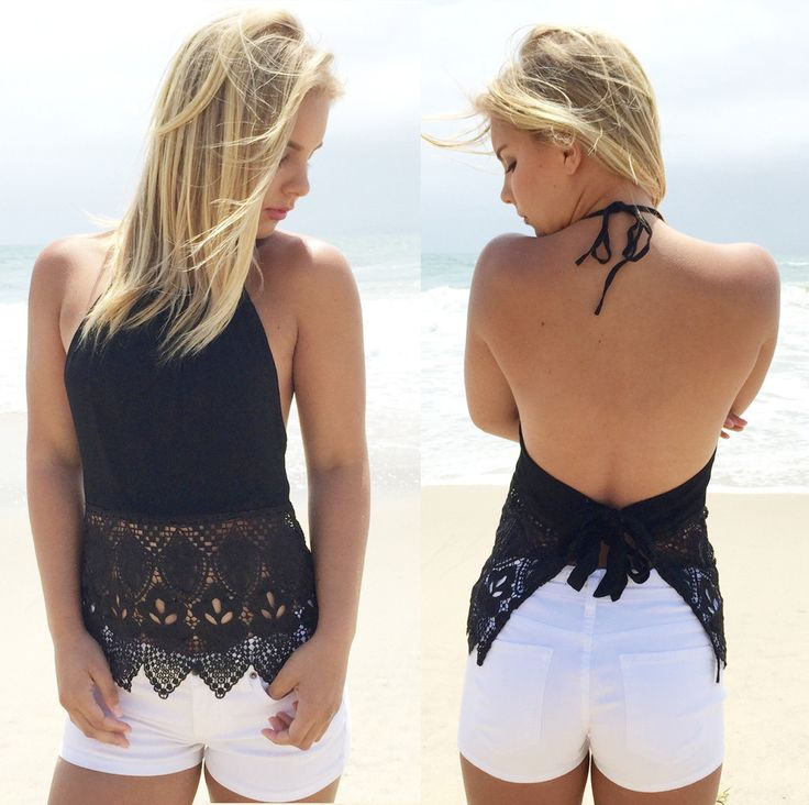 Halter Lace Patchwork Backless Sleeveless Sexy Blouse