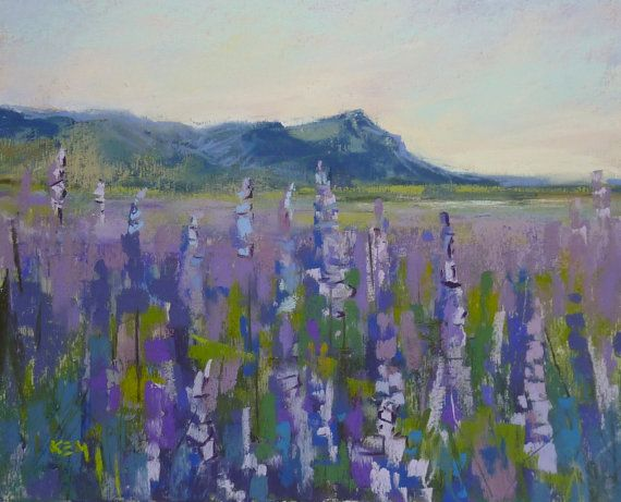 ICELAND Art Plein air Landscape Lupines by KarenMargulisFineArt, $150.00