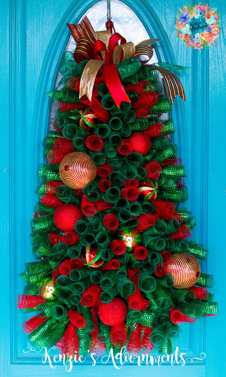 Christmas Tree Wreath, Deco Mesh Christmas Tree Wreath made by KenziesAdoornments