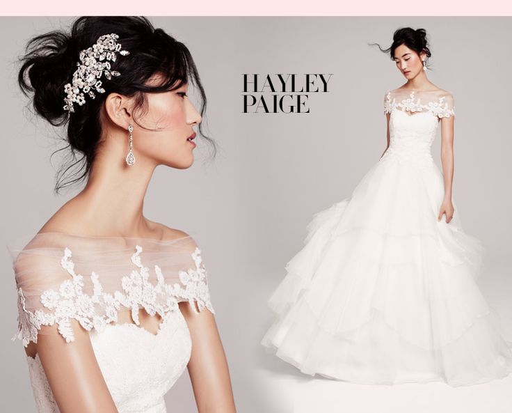 hayley paige bridal gown with lace cover up