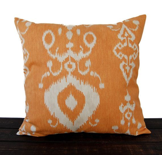 Throw piillow cover orange cushion cover Ikat by ThePillowPeople