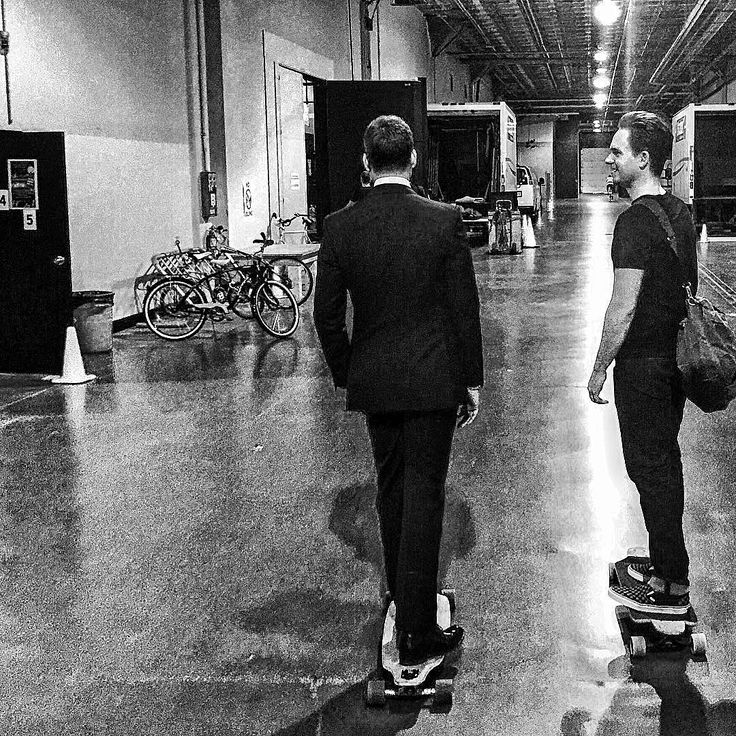patrick j. adams and gabriel macht skateboarding on set. (harvey specter and mike ross)