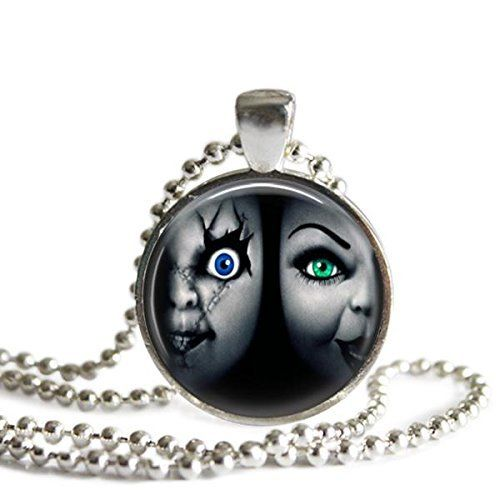 Bride of Chucky Silver Plated Picture Pendant Halloween Necklace