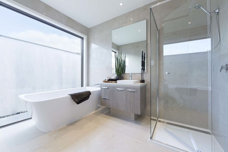 Bolton Masterton bathroom #Woodleaestate #Simondshomes #bathroom #houseandland #land #newestate #builder #whitebath