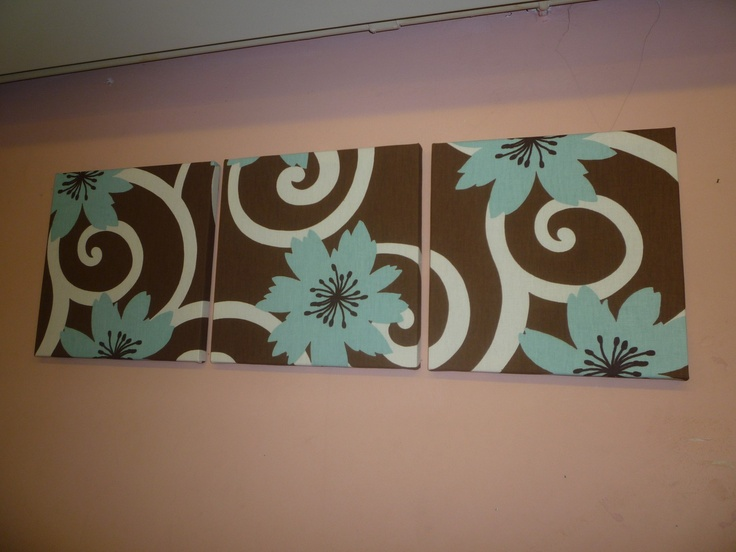Fabric Wall Art Dark Brown Aqua Funky Retro Designer Cotton Canvas-weight Tryptich Picture Hanging.. $55.00, via Etsy.