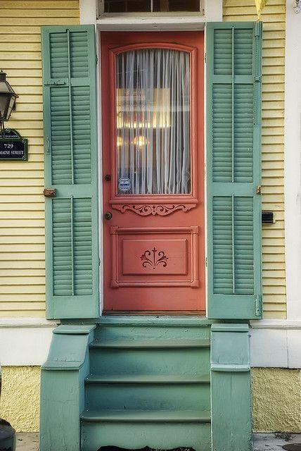 Ochre Door Green Shutters - New Orleans, La