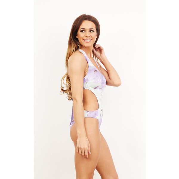 BeachHeart Lilac & Mint Cut Out Swimsuit Costume ($69) ❤ liked on Polyvore featuring purple and mint. Super cute bathing suit.