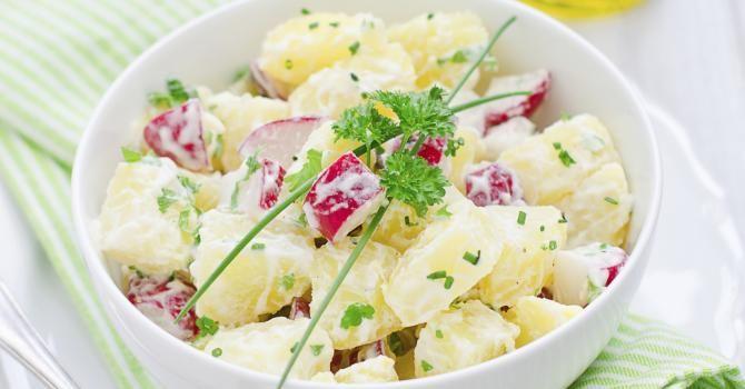 Recette de Salade de pommes de terre minceur au radis. Facile et rapide à réaliser, goûteuse et diététique. Ingrédients, préparation et recettes associées.