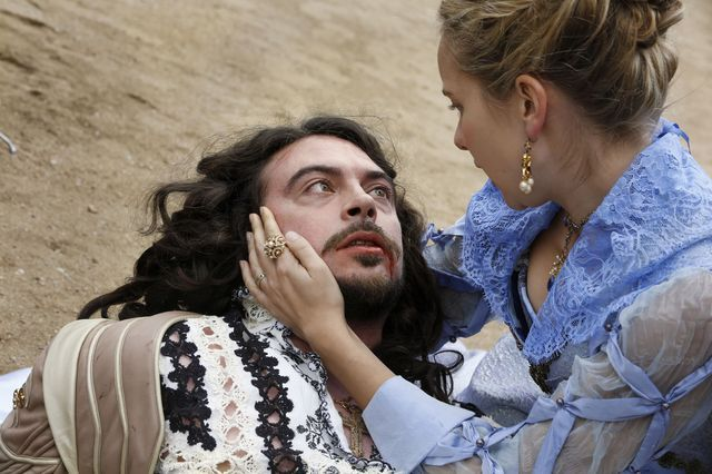 The Musketeers series 3x9. Episode 9 begins with Louis in high spirits sword fighting with Treville. He collapses and as Anne reaches his side he dies!  BBC/Dusan Martincek