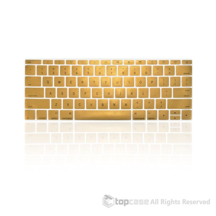 """Apple New Macbook 12"""" Metallic Gold keyboard Cover Silicone Skin for Macbook 12-inch with Retina Display Model A1534 Newest Version 2015"""