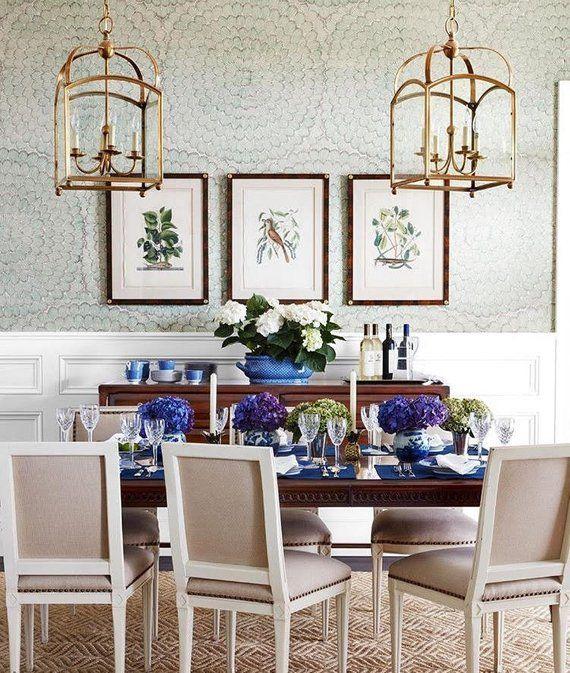 Schumacher Feather Bloom Wallpaper Dining room wallpaper