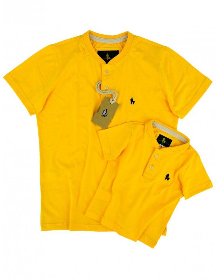SheepFyeld | Camiseta Gola Careca Pai e filho iguais, Cor Amarela Todos os tamanhos
