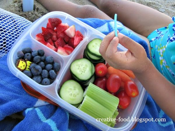 Take finger snacks to the beach. We love to sort ours into compartments and use a toothpick (or plastic fork) for picking-up. Finger food is great at the beach! Also, 40 Beach Tips and Tricks - Hacks and Ideas for Your Trip to the Sand
