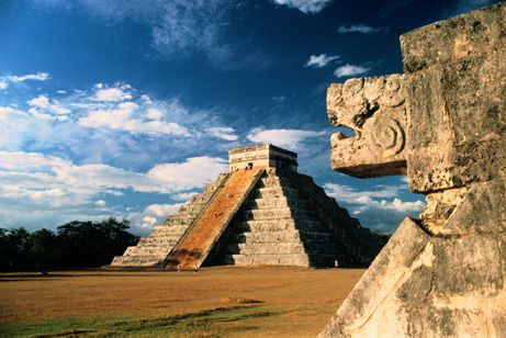 The stepped pyramids, temples, columned arcades, and other stone structures of Chichén Itzá were sacred to the Maya