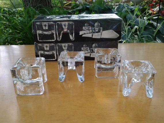 Juhava Oy Helsinki No 6122 Made In Finland Ri-Jalka ~ Napkin Holders with a Candle Holder ~ Crystal ~ Vintage ~ Retro ~ MidCentury Modern on Etsy, $39.95