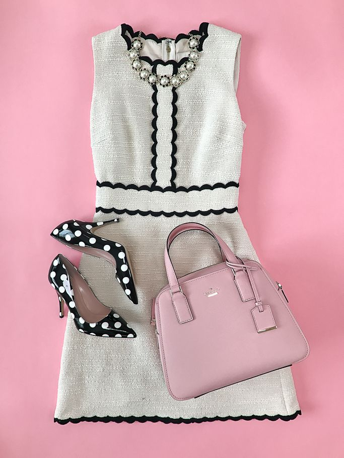 cameron street little babe, klicorice polka dot pumps, kscallop tweed dress, taking shapes collar necklace, wedding outfit idea, spring fashion, jackie O outfit, pink purse, petite fashion blog - click the photo for outfit details!