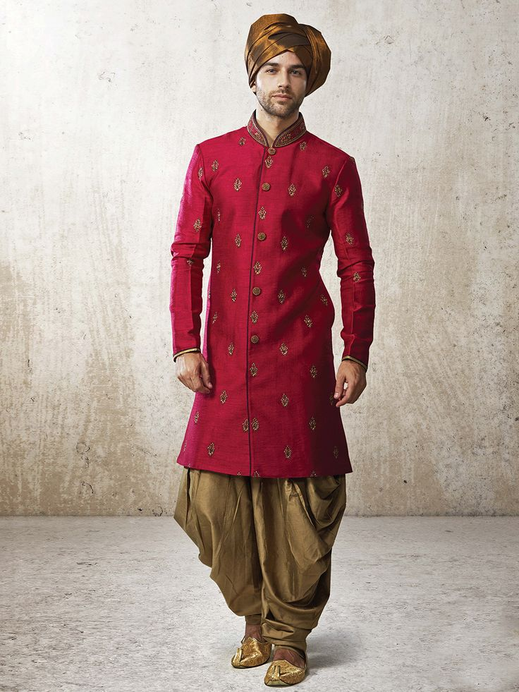 Shop G3 Exclusive silk red men festive wear kurta suit online from G3fashion India. Brand - G3, Product code - G3-MKS0936, Price - 5895, Color - Red, Fabric - Silk,