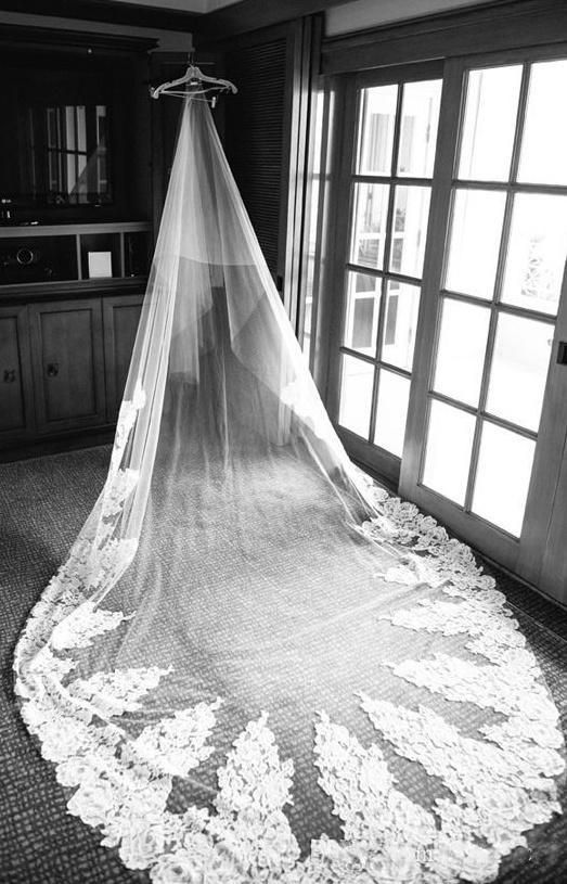 Affordable Bridal Veils Real Photos 3 Meters Bridal Veils In Stock Irresistible Cathedral Length Huge Lace Wedding Veils White Applique Tulle Long Wedding Veil Blusher Veil From Baosu, $57.6| Dhgate.Com