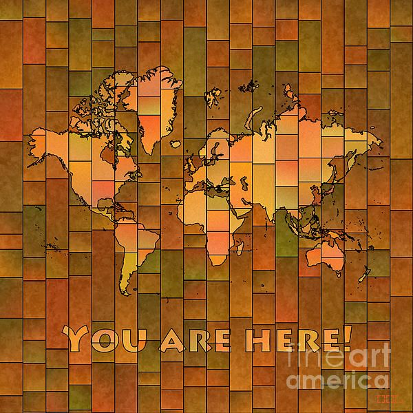 World Map Glasa with 'You Are Here' text in  Brown, Orange and Green by elevencorners. World map wall print decor. #elevencorners #mapglasa