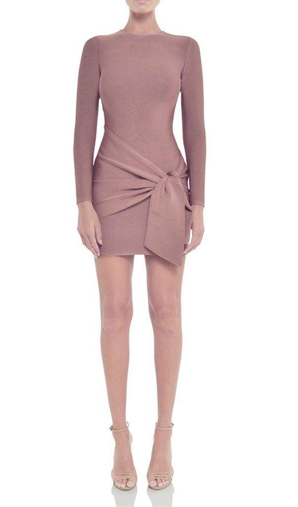 fd814e9d58f1 Zaina Blush Pink Long Sleeve Bandage Dress – BWCLOSET