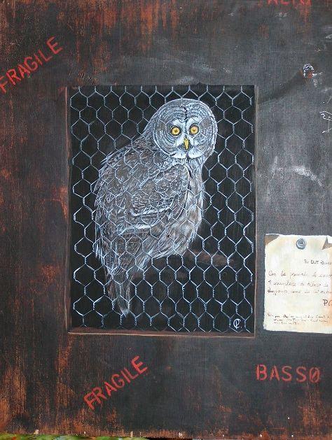 tromp l'oeil owl of Lapland acrylic on wooden board dec 2012