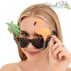 Flamingo Party Sunglasses Palms Luau Hawaiian Fancy Dress for Luau Party, Cruise, Halloween or party.