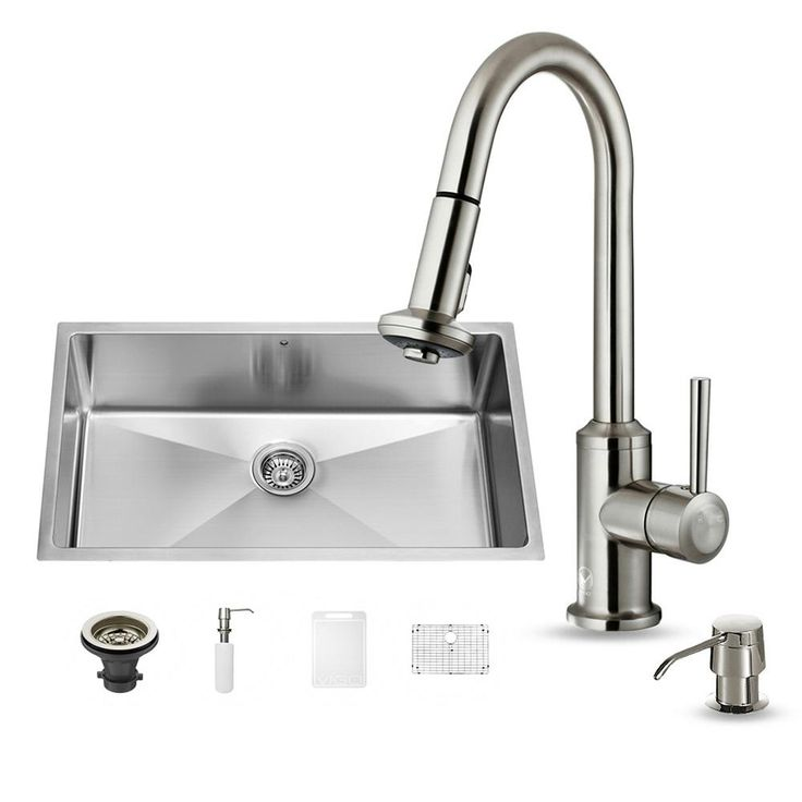 All-in-One Undermount Stainless Steel (Silver) 32 in. Single Bowl Kitchen Sink in Stainless Steel