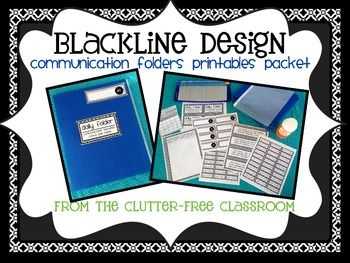 """DAILY COMMUNICATION FOLDER PRINTABLES for CLASSROOM MANAGEMENT-BLACKLINE DESIGN. The Daily Comm. Folder Printable Packet includes over 70 printable pages:  Daily Folder Titles x 5 patterns  Blank Title Cards x 5 patterns  Name and Number Labels for #s 1-40 (5 patterns x 5 pages each)  1 page of """"return to school"""" tags  1 page of """"leave at home"""" tags  1 page of blank labels  3 page protector inserts (money, calendar, blank) x 5 patterns  1 communication page x 5 patterns  photo assembly instrx"""