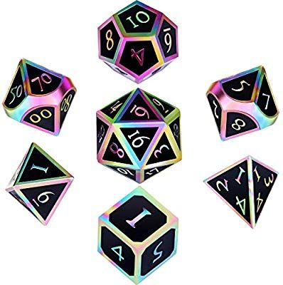 Hestya 7 Pieces Metal Dices Set Dnd Game Polyhedral Solid