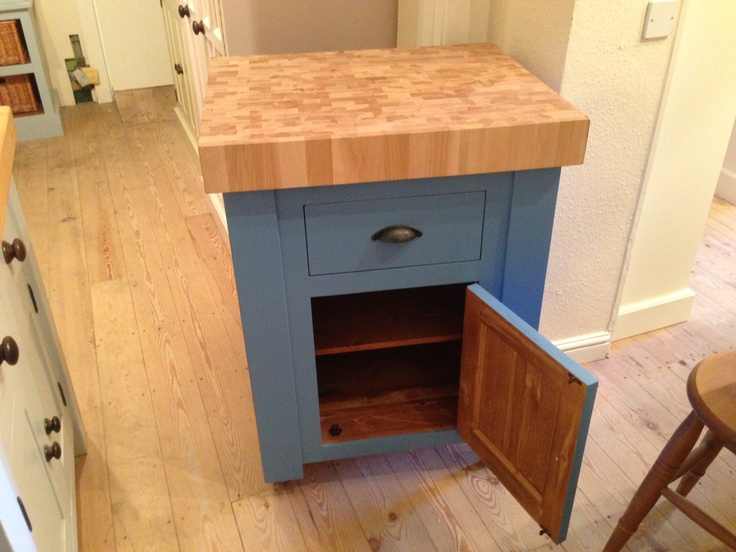 This Butchers Block Also Acts As A Base Unit Complete With Cupboard And Internal Ed Shelf