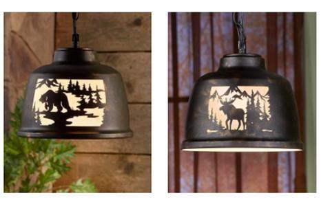 Wildlife Pendant Lamp Oversized Metal Drum Shade Die Cut Design Bear or Moose