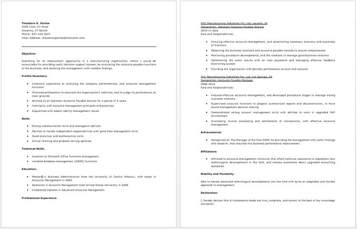 Resume Objective Examples Accounts Payable - Resume Examples
