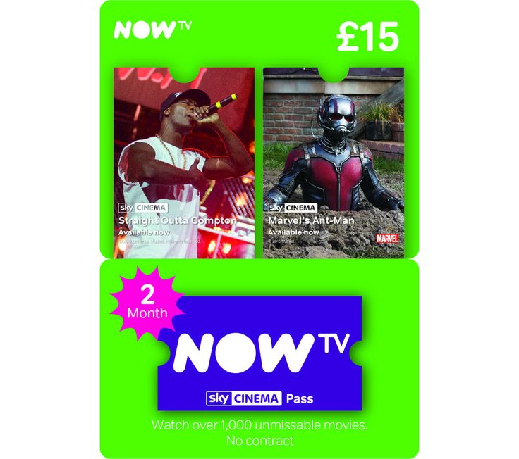 NOW TV  Sky Movies Pass - 2 Month Price: £ 15.00 Unlock more entertainment on your NOW TV box with this two-month NOW TV Sky Movies Pass . With access to a huge range of films, including some of the very latest blockbusters, there'll be something to please everyone. To infinity ... and beyond With this movies package, you can enjoy some of the latest and biggest movies, streamed straight to...