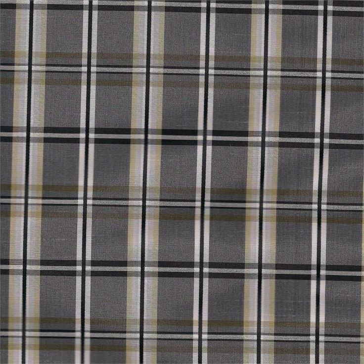 Plaid Taffeta Faux Silk In Strafford Shale Gray Color For