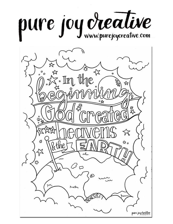 Genesis 1:1 Coloring Page, Scripture Art, Adult Coloring ...