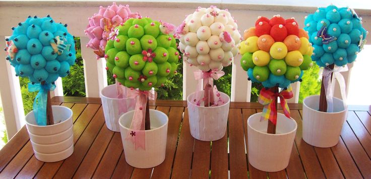 My marshmallow topiaries (by melisbouquet.blogspot.com)