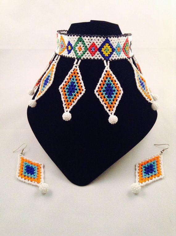 Zulu Beaded Choker & Hoop Earrings set
